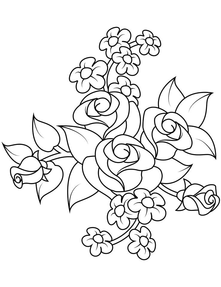 Desenhos de Bouquet de Rosas para colorir