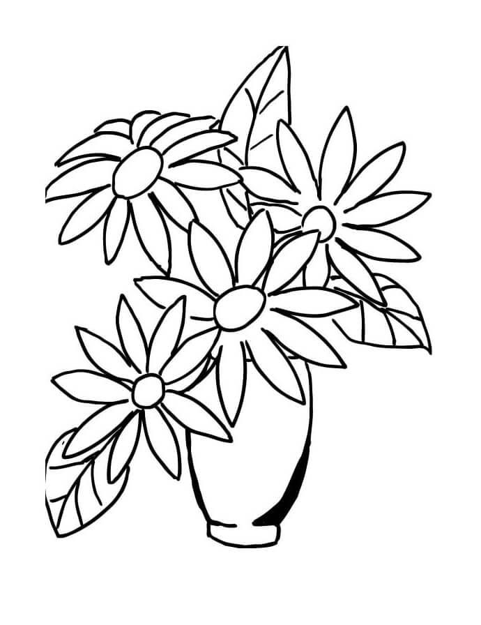 Desenhos de Buquê de flores em um vaso para colorir