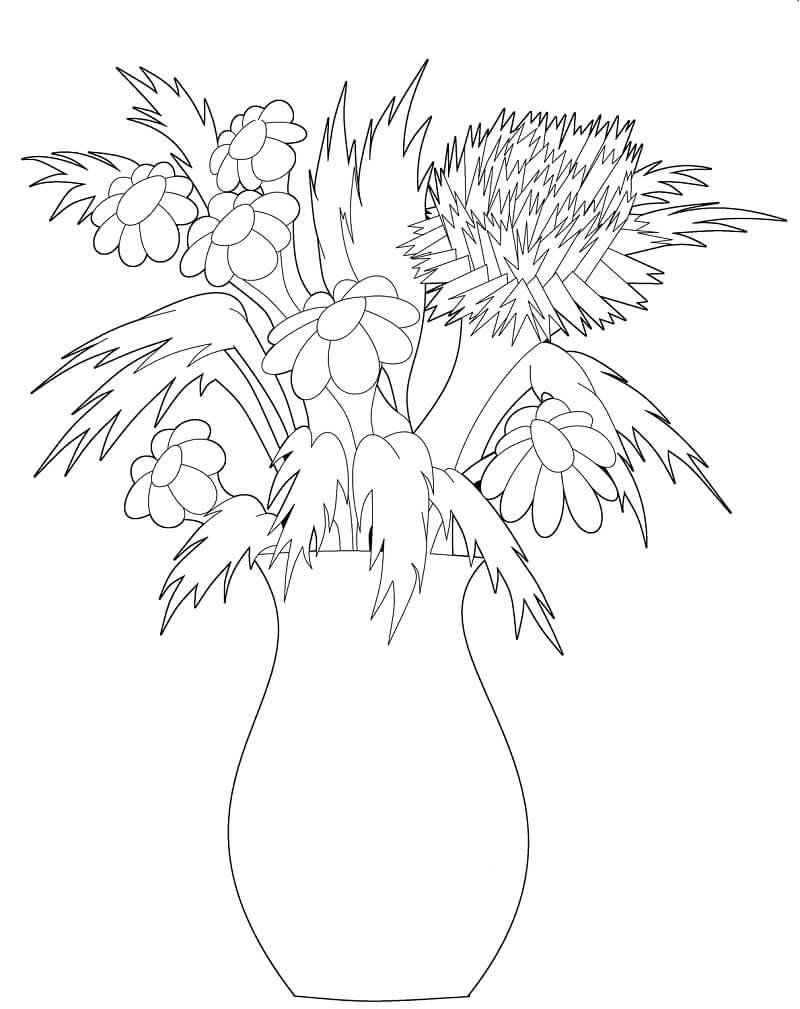 Desenhos de Margaridas em um vaso para colorir