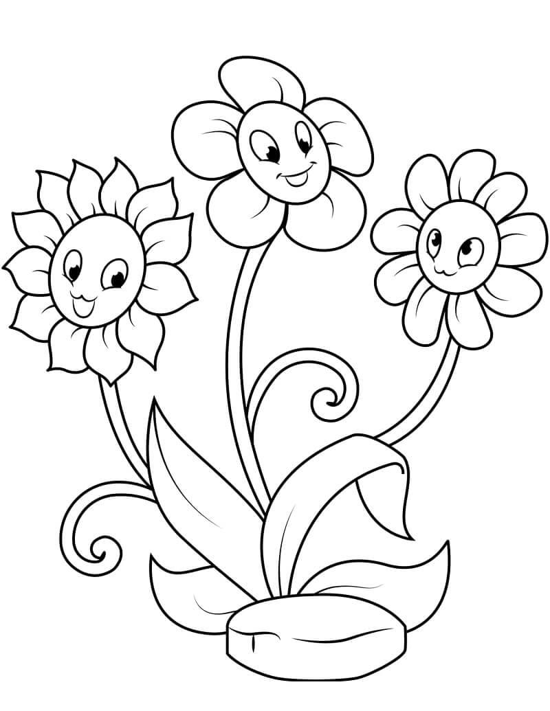 Desenhos de Margaridas fofas para colorir