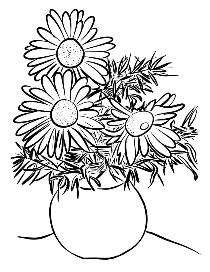 Desenhos de Margaridas num Vaso para colorir