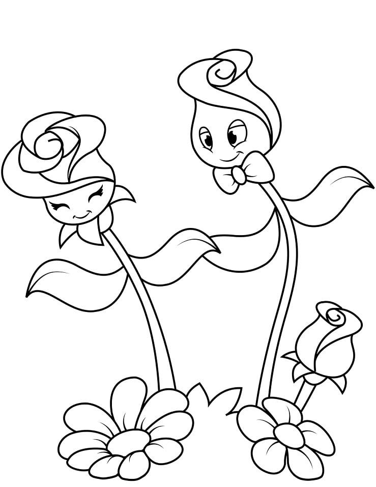 Desenhos de Personagens de Rosas Fofas para colorir