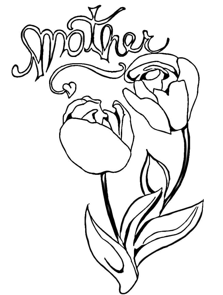 Desenhos de Tulipas para mamãe para colorir