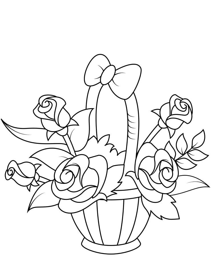 Desenhos de Vaso com Rosas para colorir