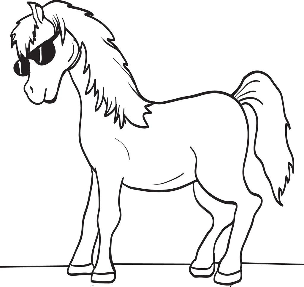 Desenhos de Cavalo com Óculos de Sol para colorir