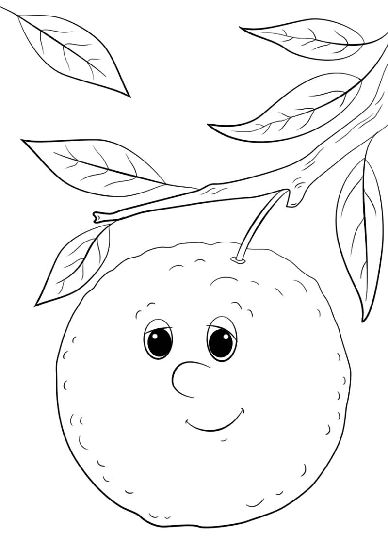 Desenhos de Desenho animado de figura de laranja para colorir