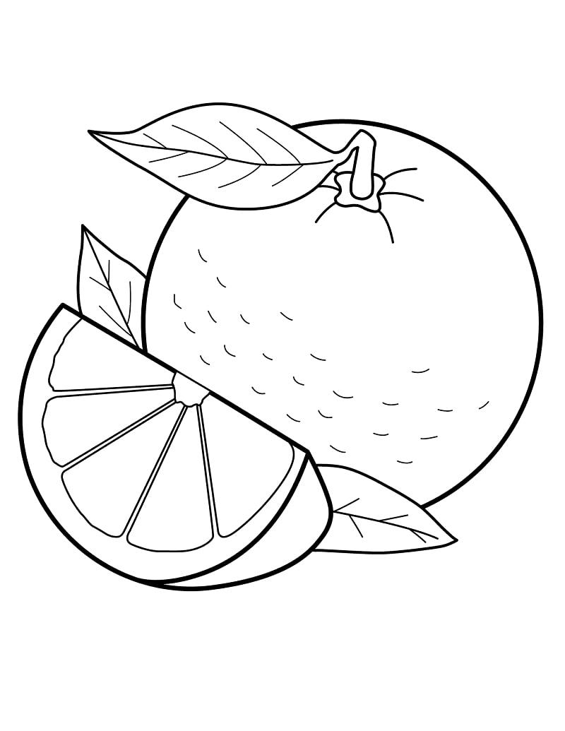 Desenhos de Laranja e uma Fatia 1 para colorir