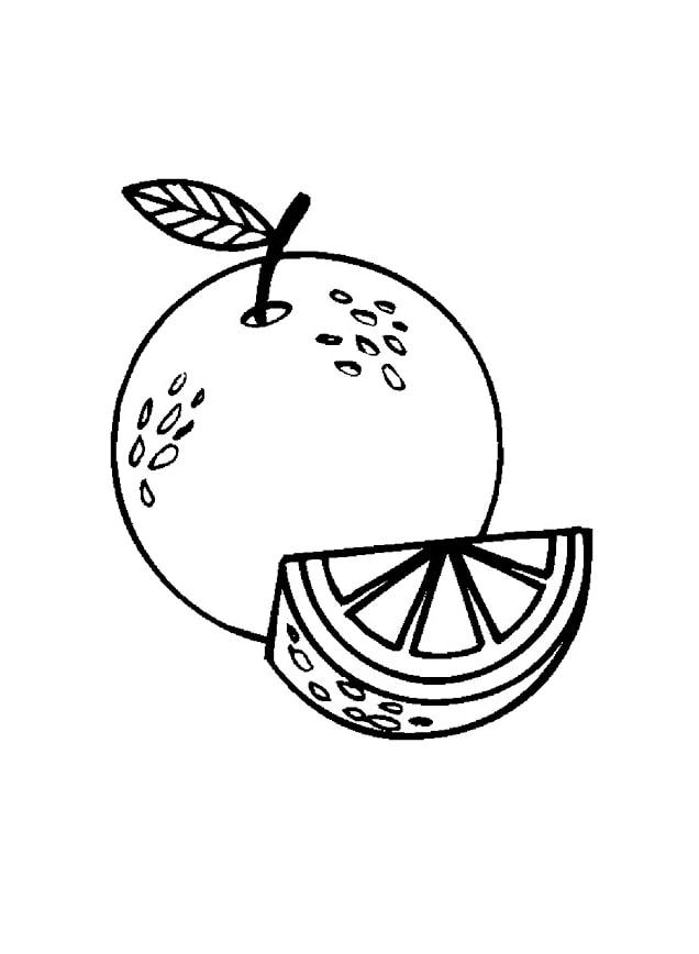 Desenhos de Laranja e uma Fatia 3 para colorir