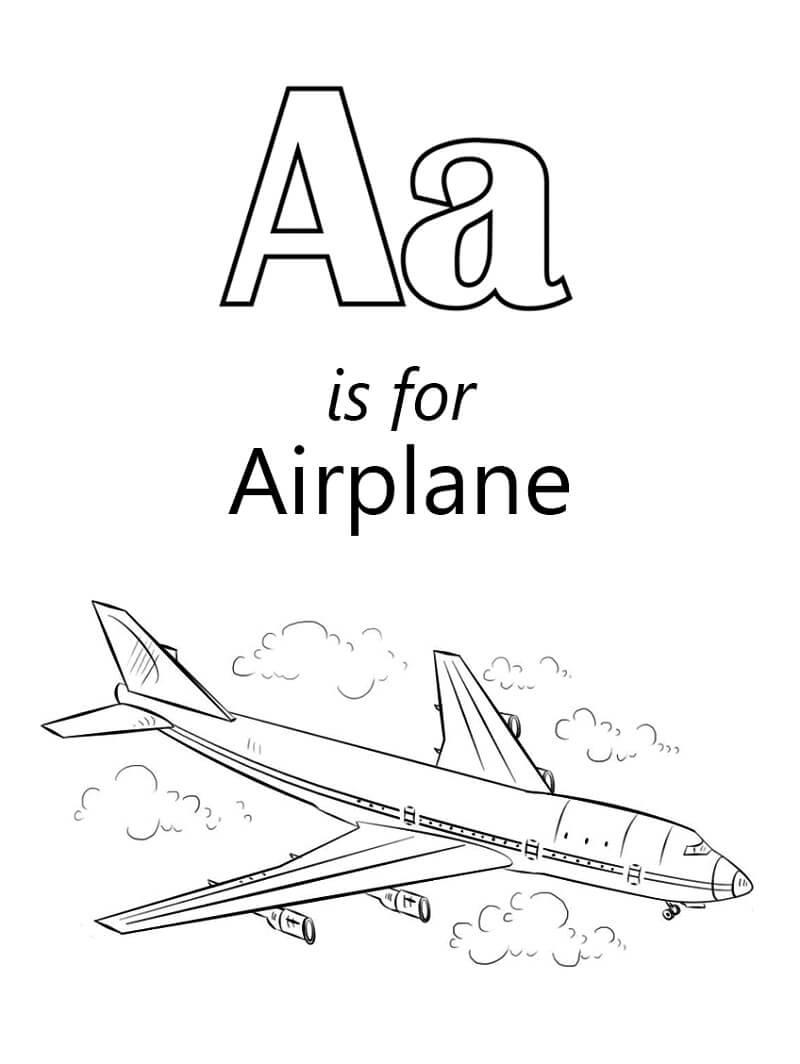 Desenhos de Letra A é de Airplane para colorir