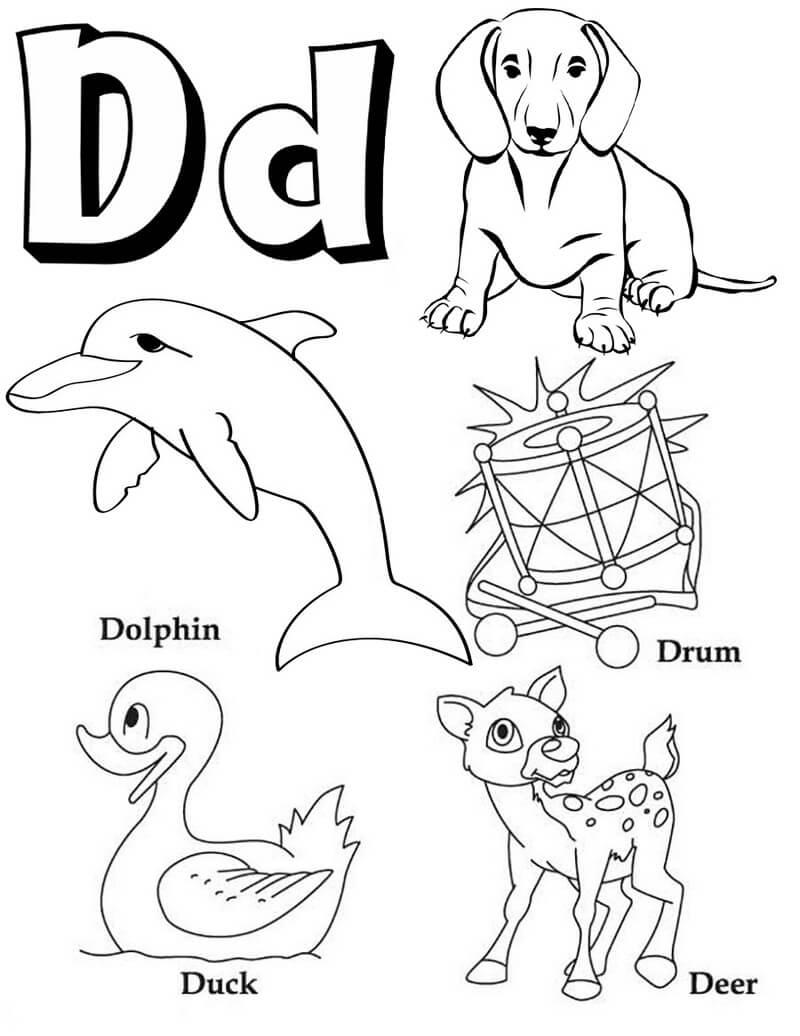 Desenhos de Letra D 12 para colorir