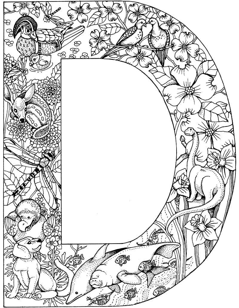 Desenhos de Letra D 8 para colorir