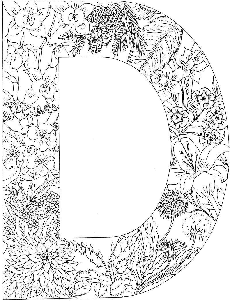 Desenhos de Letra D 9 para colorir
