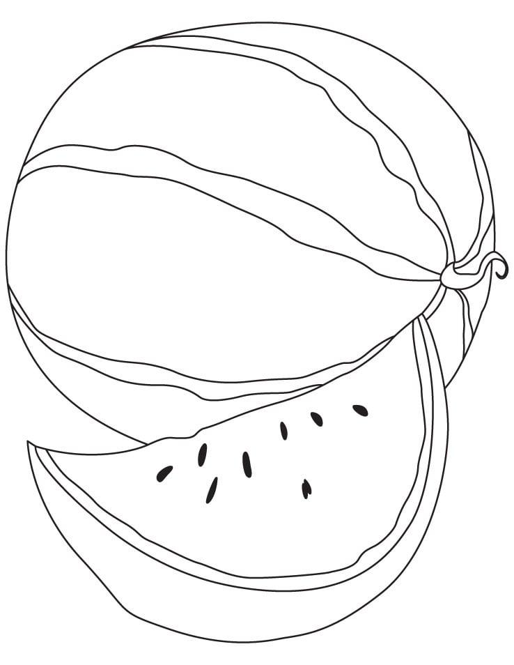 Desenhos de Melancia e Fatia 3 para colorir