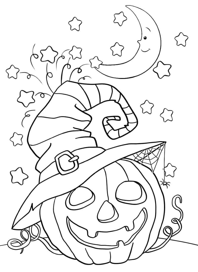 Desenhos de Abóbora com Chapéu de Bruxa para colorir