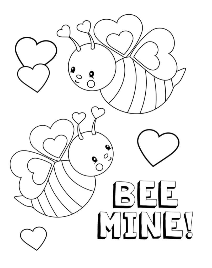Desenhos de Abelha do Dia dos Namorados para colorir