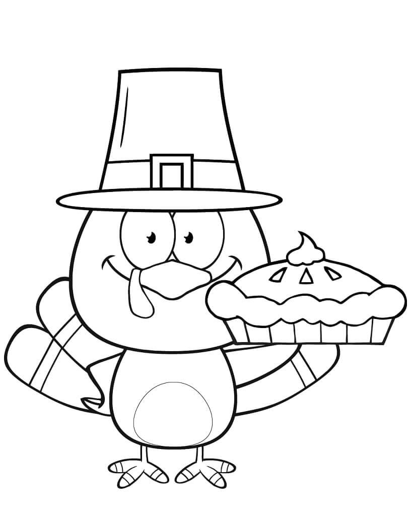 Desenhos de Adorável peru peregrino a segurar uma tarte para colorir