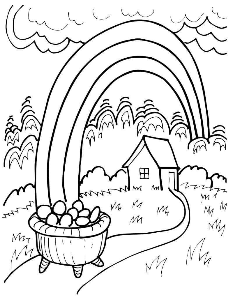 Desenhos de Arco-íris e pote de ouro 1 para colorir