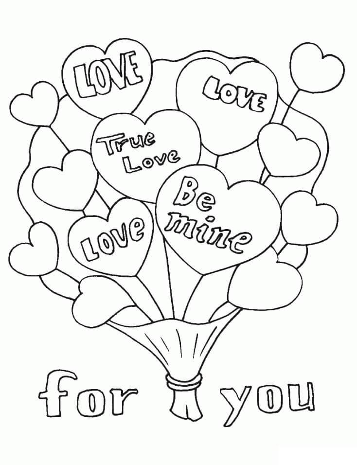 Desenhos de Balões do Dia dos Namorados para colorir