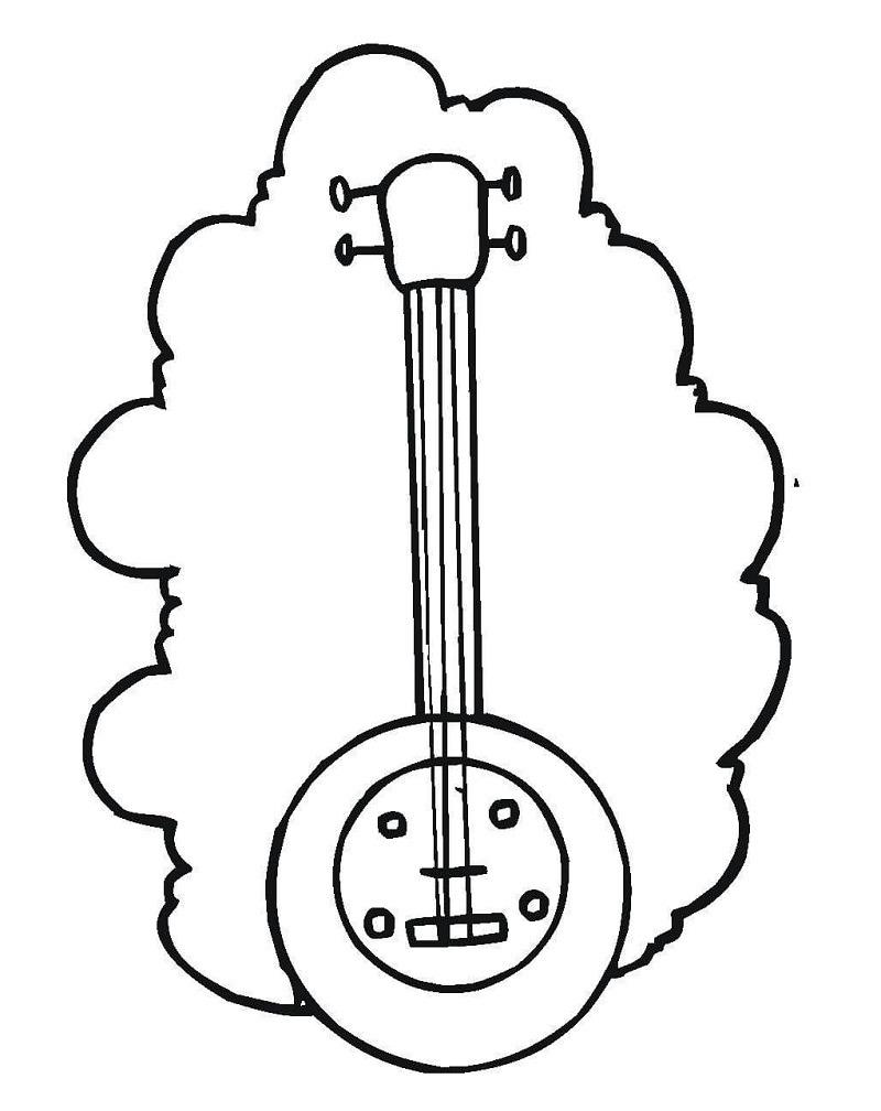 Desenhos de Banjo Simples 2 para colorir
