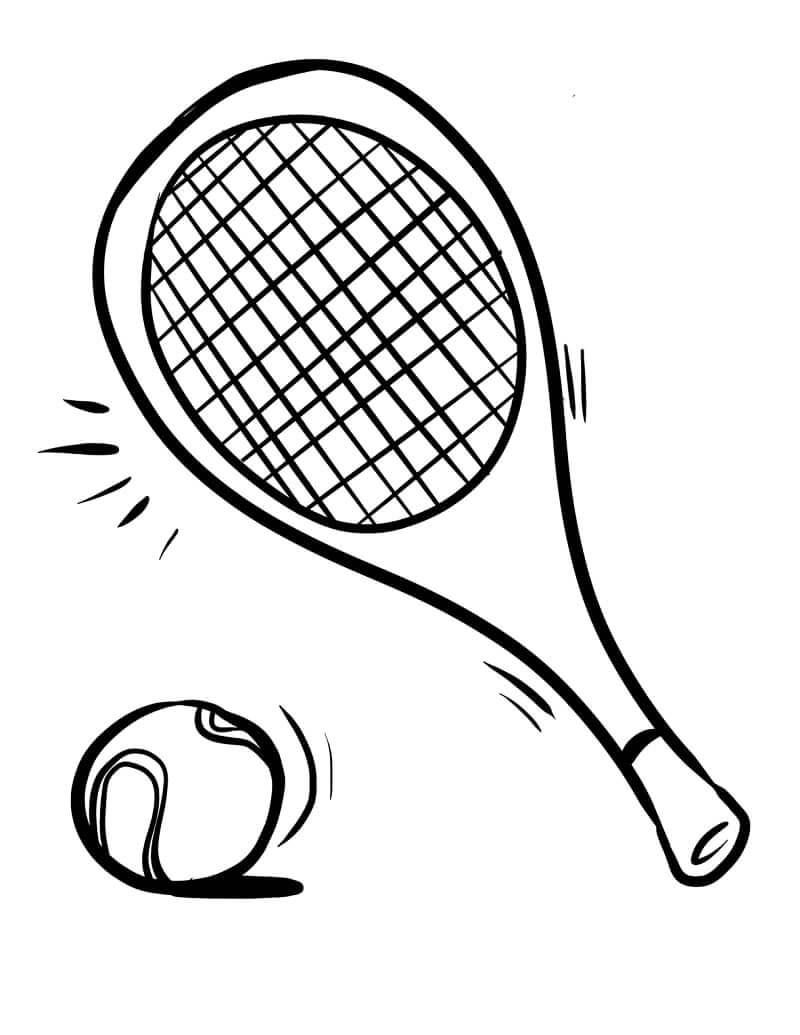 Desenhos de Bola e Raquete de Tênis 1 para colorir