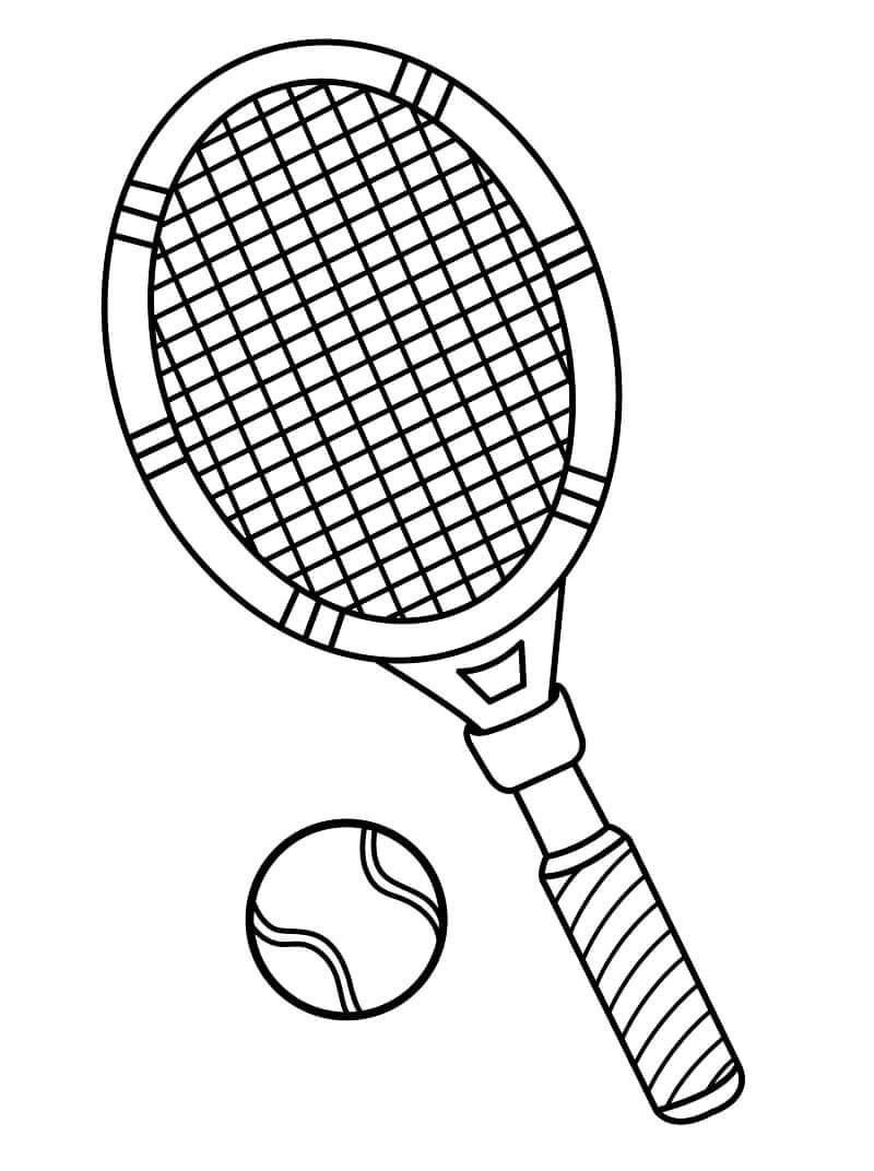 Desenhos de Bola e Raquete de Tênis para colorir