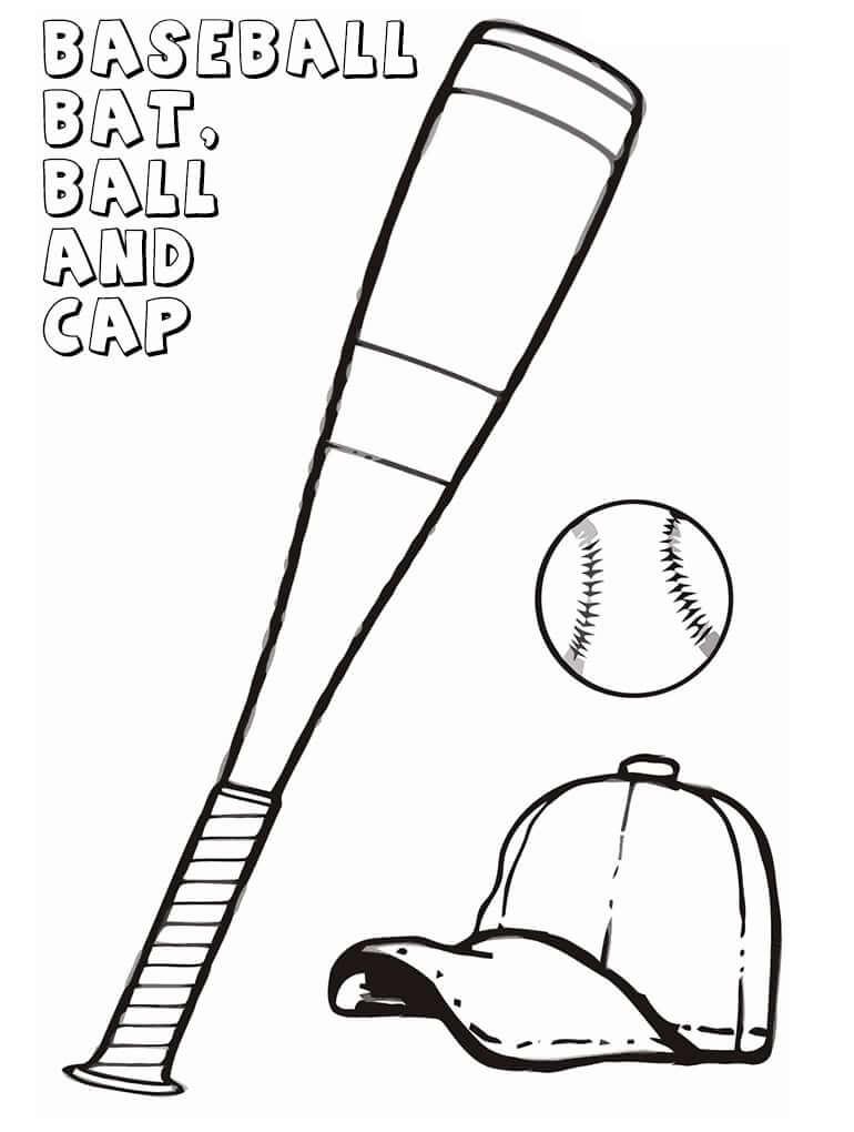 Desenhos de Bola e Taco de Beisebol 1 para colorir