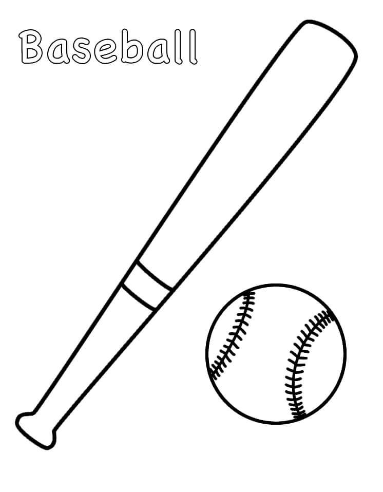 Desenhos de Bola e Taco de Beisebol para colorir