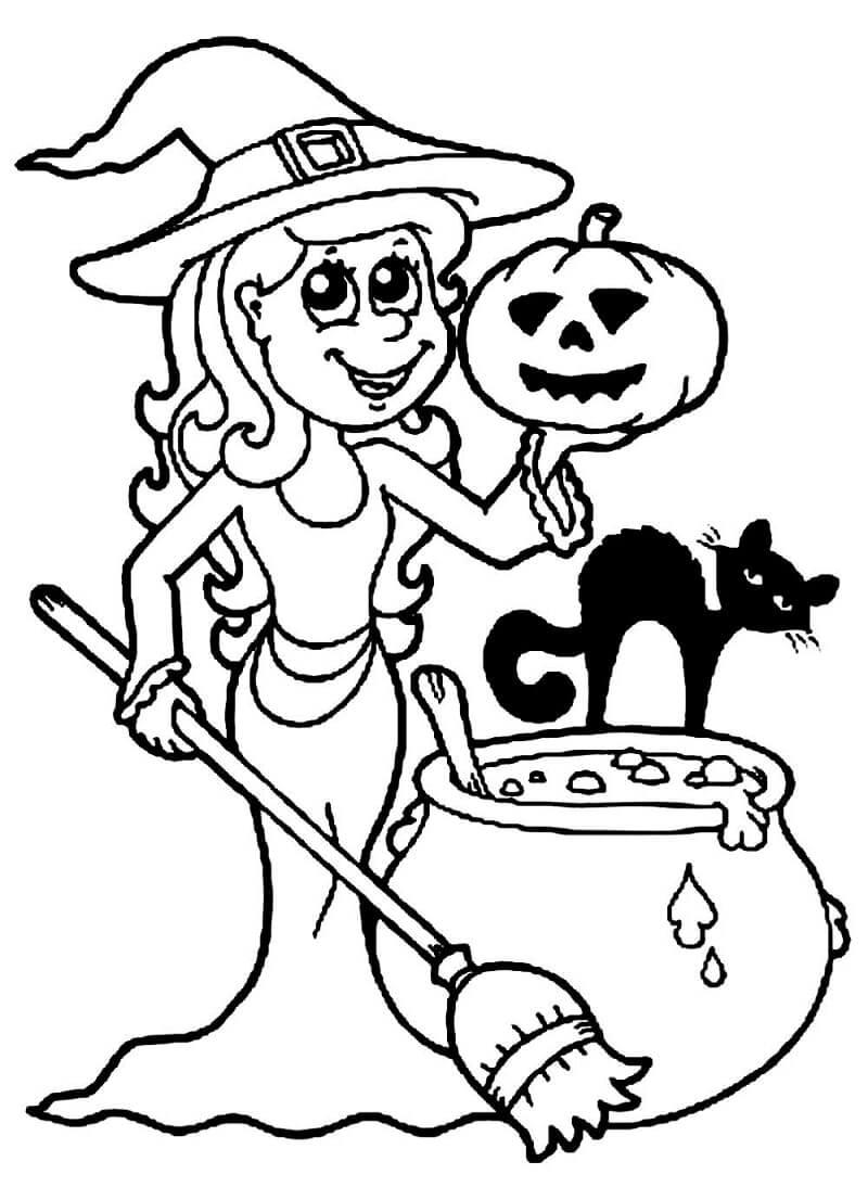Desenhos de Bruxa Feliz para colorir