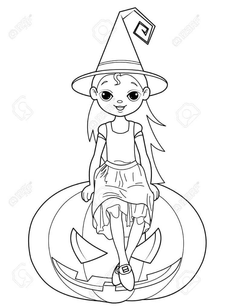 Desenhos de Bruxa Sentada na Abóbora para colorir