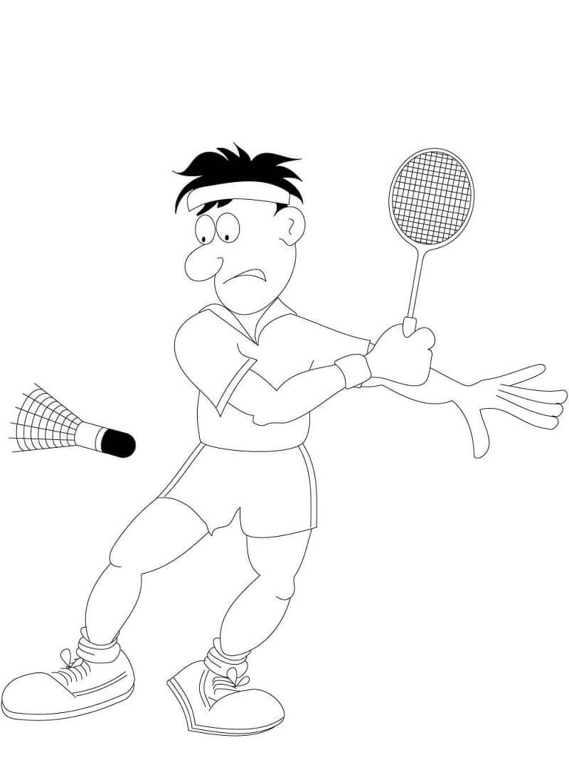 Desenhos de Cara Jogando Badminton para colorir