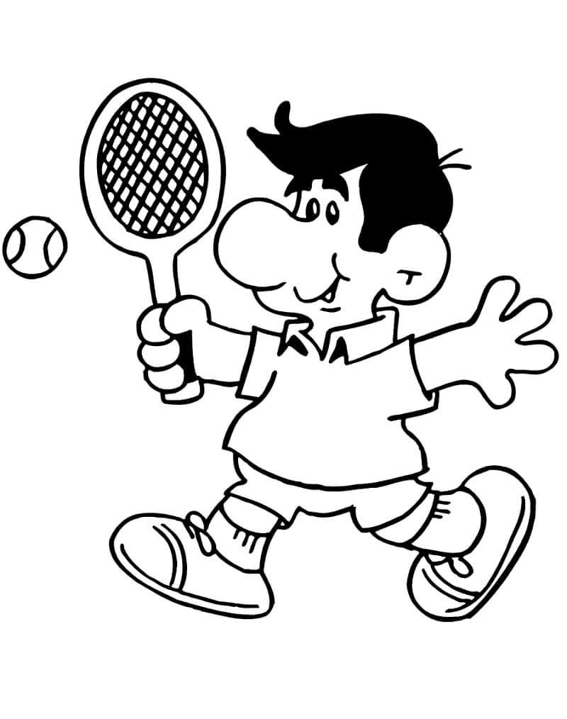 Desenhos de Cara Jogando Tênis 1 para colorir