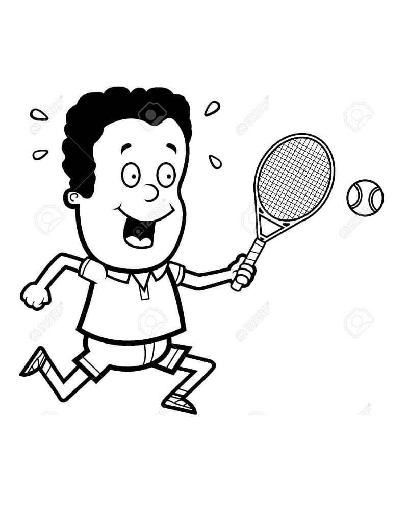 Desenhos de Cara Jogando Tênis para colorir 2 para colorir