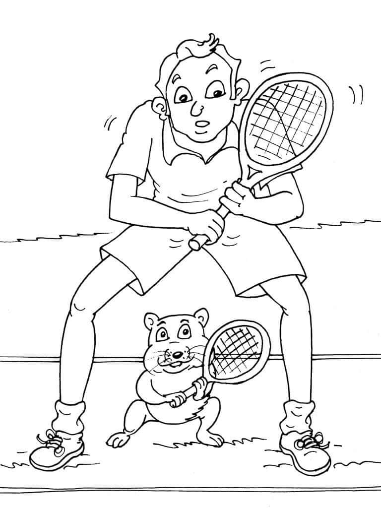 Desenhos de Cara Jogando Tênis para colorir para colorir