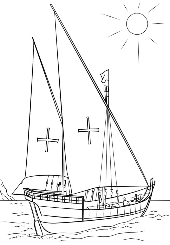 Desenhos de Caravela Portuguesa Barco para colorir