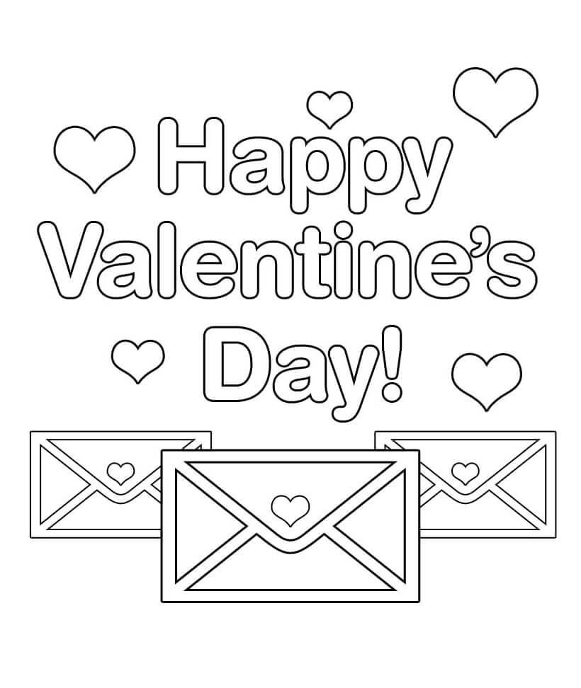 Desenhos de Cartas dos Namorados para colorir
