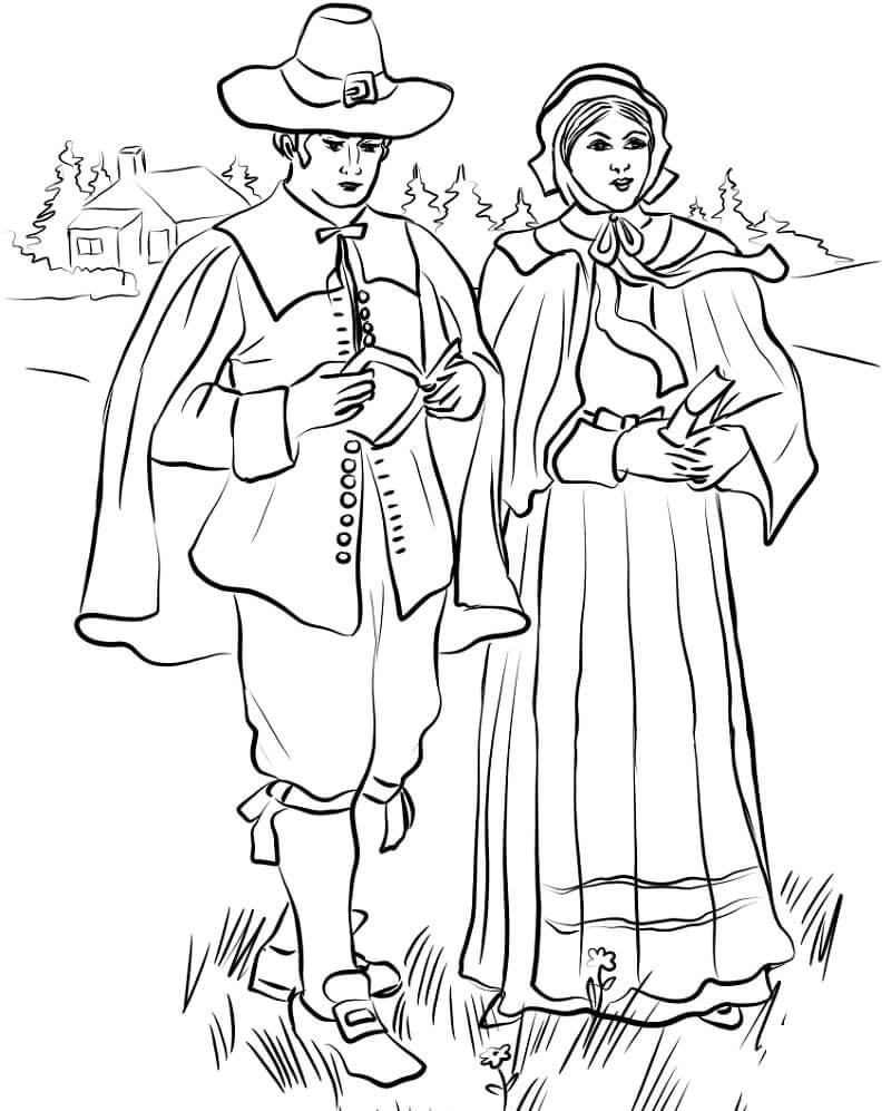 Desenhos de Casal puritano de Nova Inglaterra para colorir