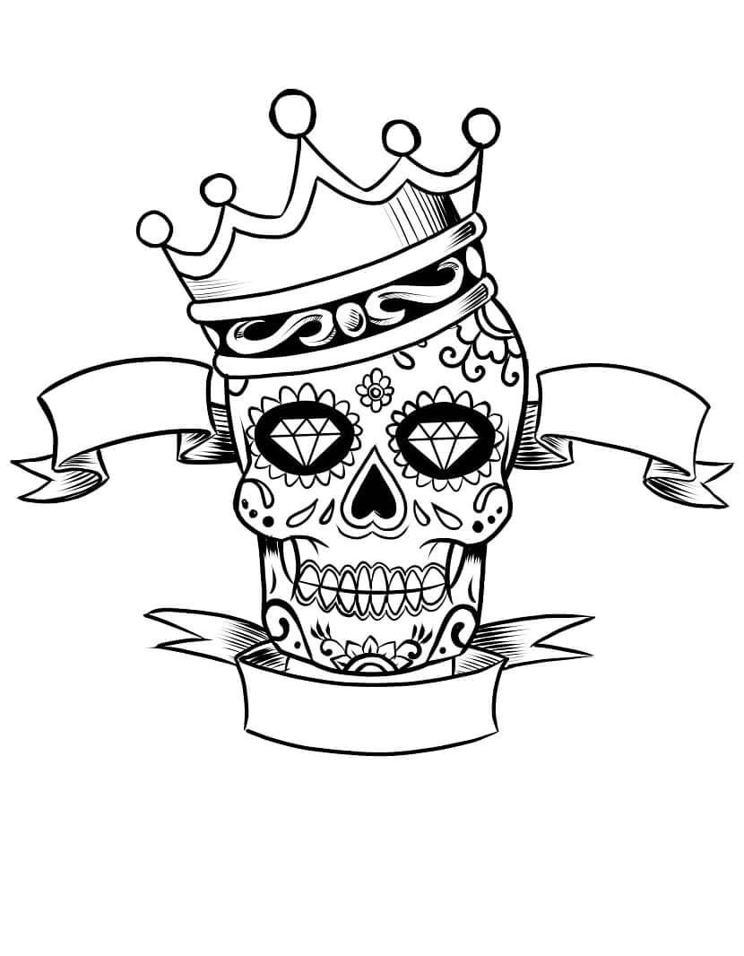 Desenhos de Caveira de Açúcar com Coroa para colorir