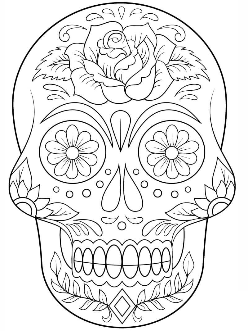 Desenhos de Caveira de Açúcar com Flores para colorir
