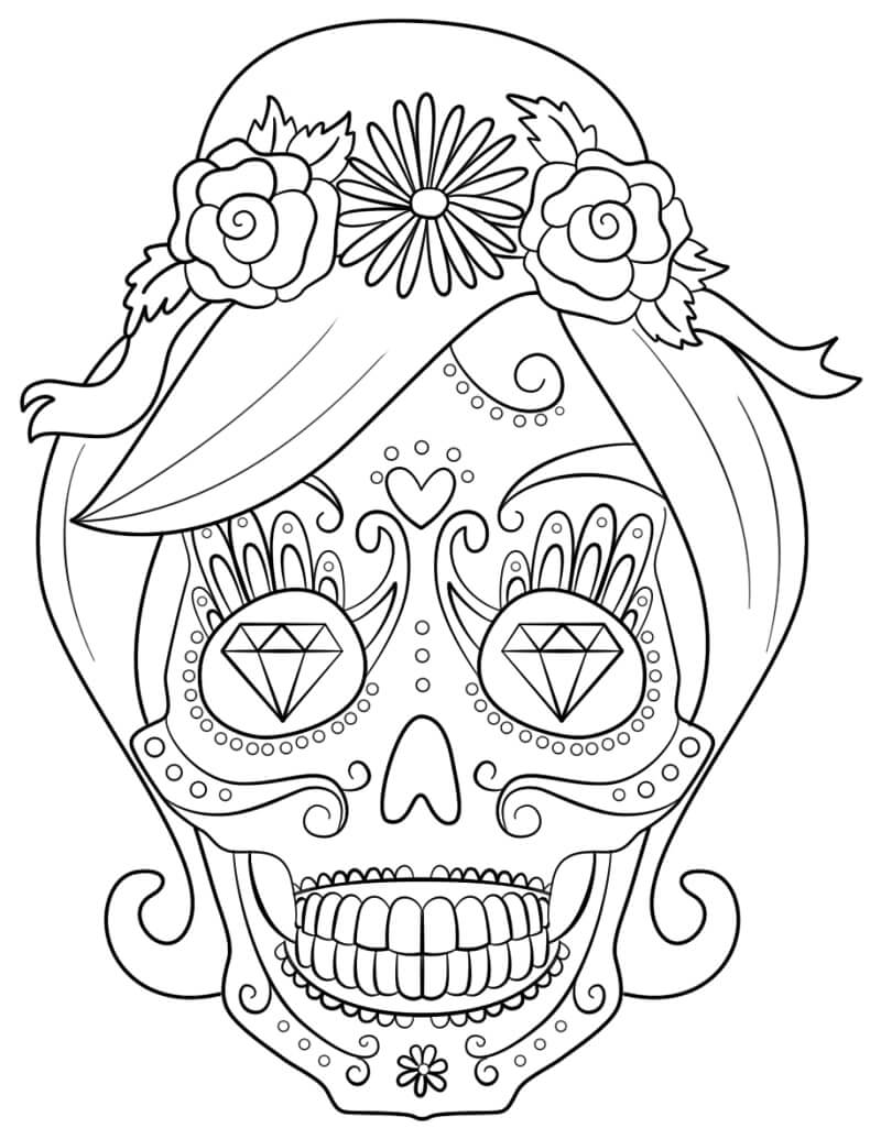 Desenhos de Caveira de Açucar Mulher para colorir