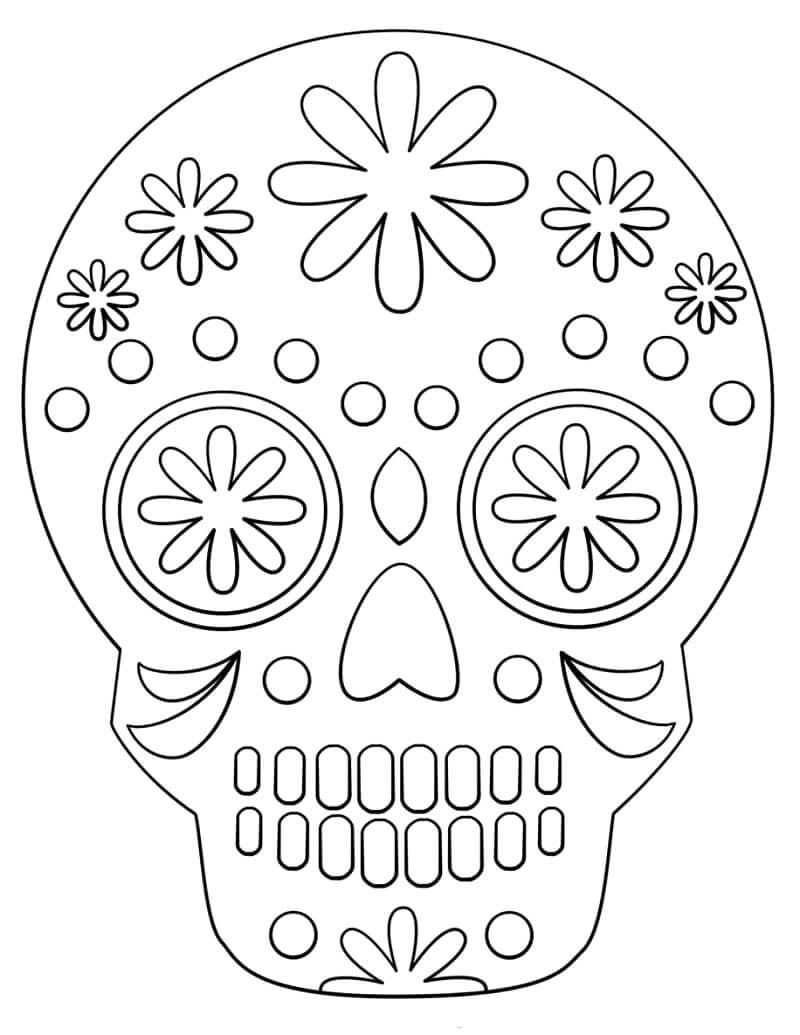 Desenhos de Caveira de Açucar Simples para colorir