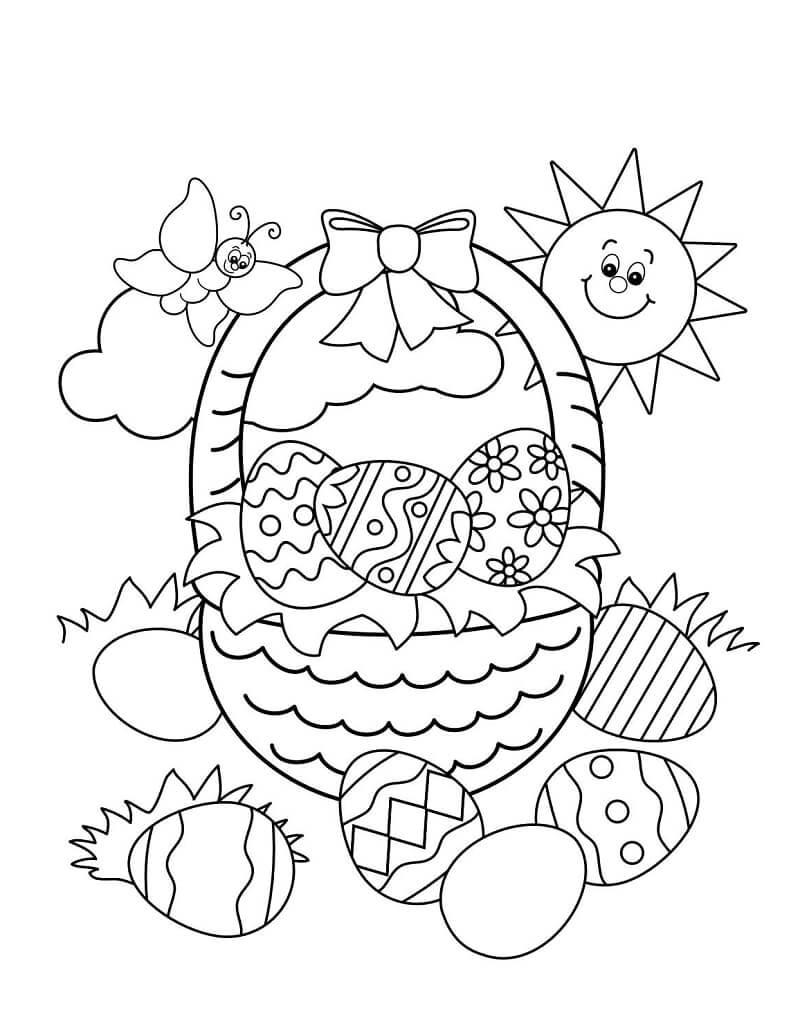 Desenhos de Cesta da Páscoa para colorir