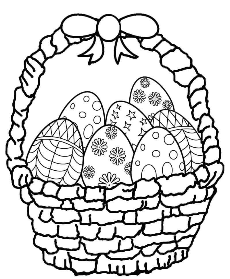 Desenhos de Cesta de Ovos de Páscoa para colorir