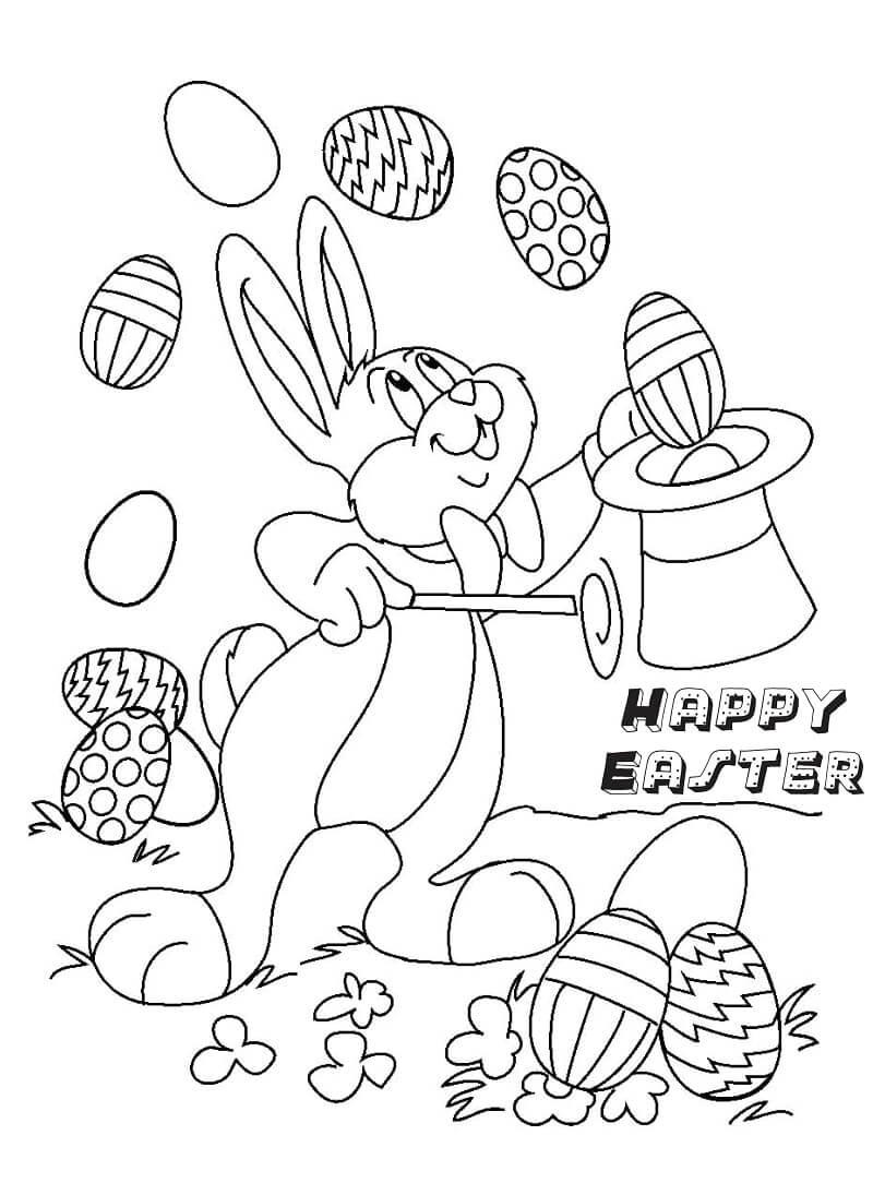 Desenhos de Coelhinho da Páscoa Mágico para colorir