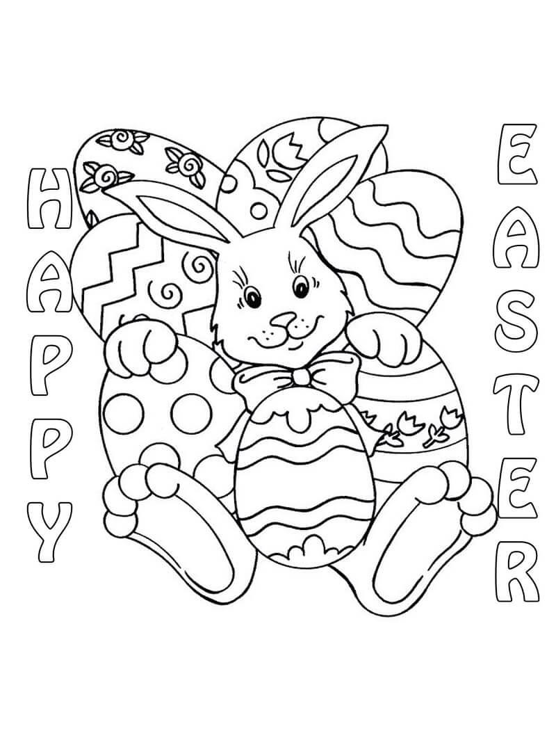 Desenhos de Coelhinho da Páscoa com Ovos para colorir