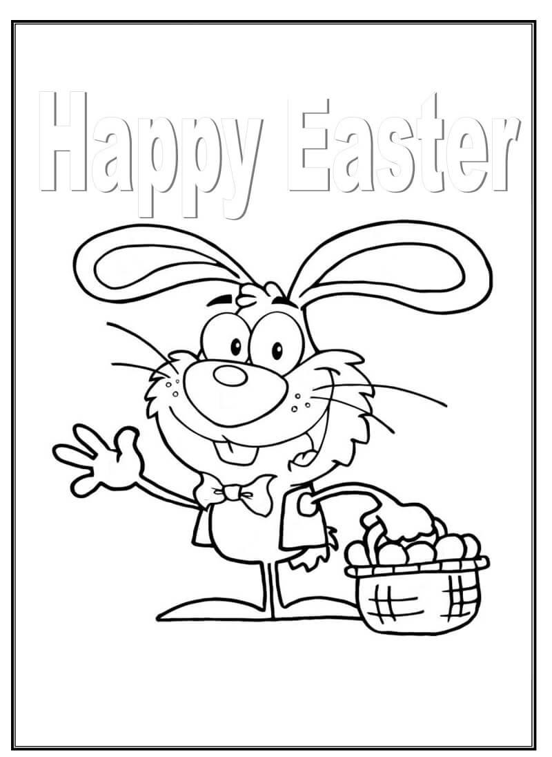 Desenhos de Coelho de Feliz Páscoa para colorir