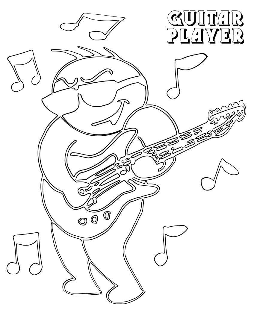 Desenhos de Contorno do Guitarrista para colorir