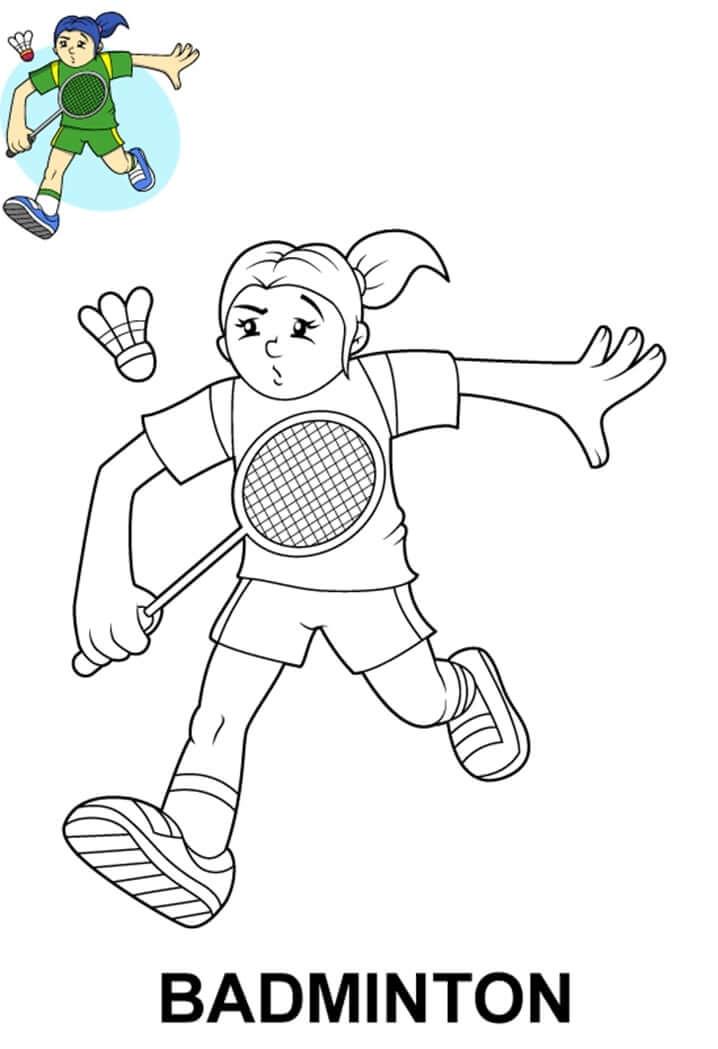 Desenhos de Criança Jogando Badminton para colorir