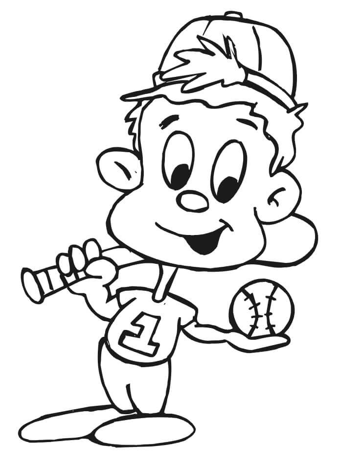 Desenhos de Criança Jogando Beisebol para colorir 1 para colorir