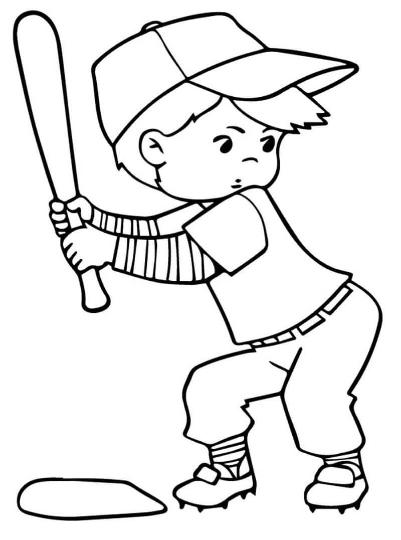 Desenhos de Criança Jogando Beisebol para colorir 2 para colorir