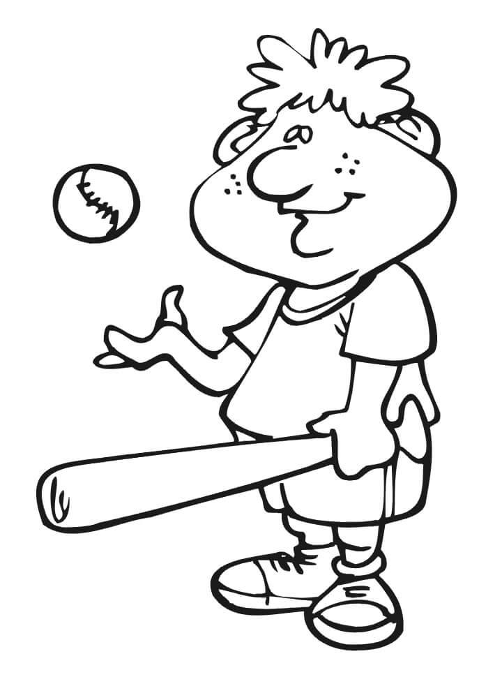 Desenhos de Criança Jogando Beisebol para colorir